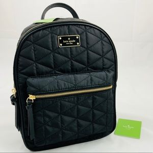 New! Kate Spade Black Gold Quilted Nylon Backpack